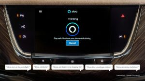 photo of Alexa application being used in vehicle