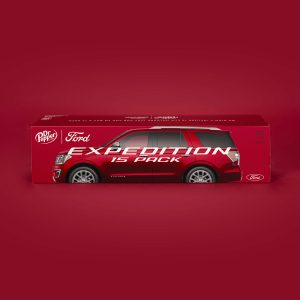 photo of Dr. Pepper 15 pack of soda with Ford Expedition on carton