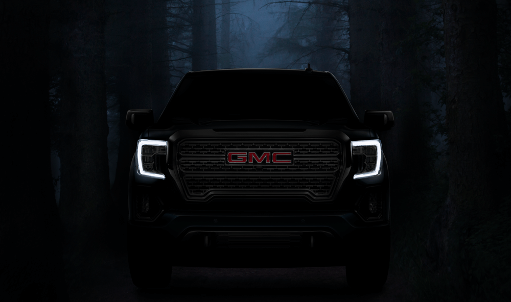 GMC truck looking scary for Halloween