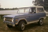 Classic blue and white Ford Bronco hardtop