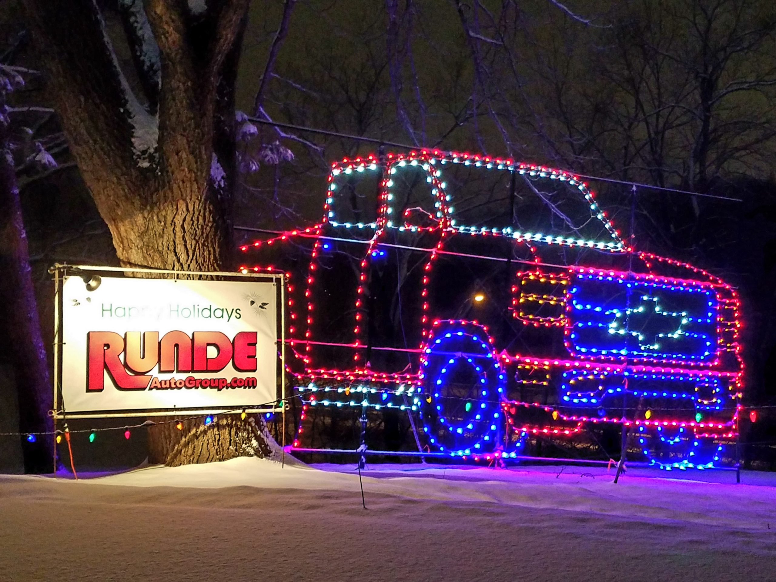 Runde Chevrolet Silverado light display at Reflections in the Park